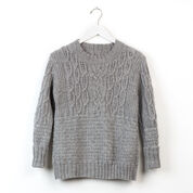Patons Boxy Cabled Crew Knit Pullover, XS/S