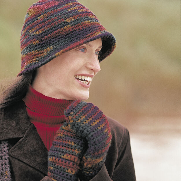 Patons Cloche Hat and Mittens in color