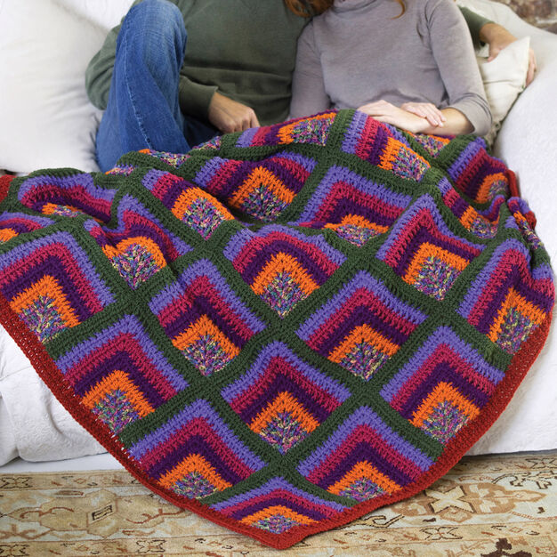 Red Heart Rich Mitered Crochet Throw in color