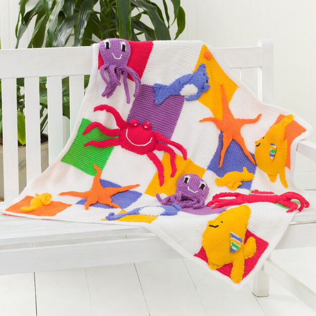 Red Heart Sea Creatures Throw
