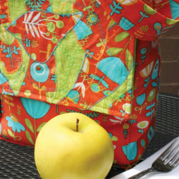 Dual Duty Crazy Quilted Lunch Bag in color