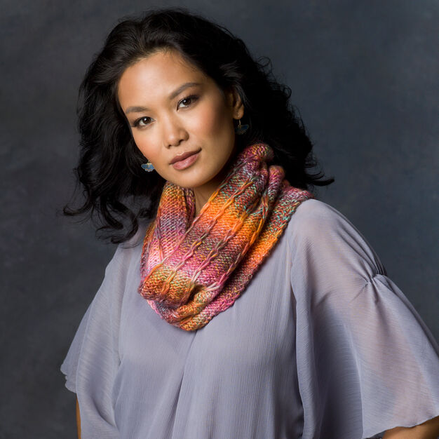 Red Heart Spectra Cowl in color