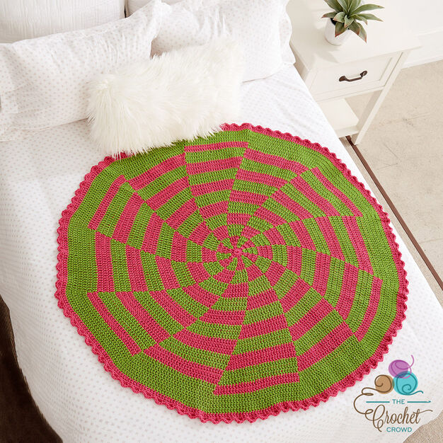 Caron Peppermint Pinwheel Afghan in color