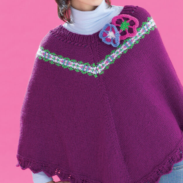 Bernat Fair Isle and Flowers Poncho, XS-M in color