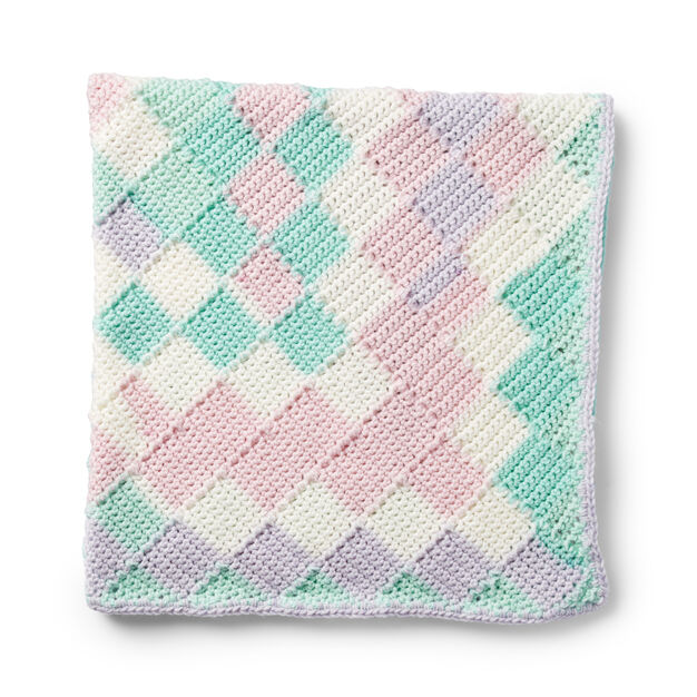 Caron Entrelac Crochet Baby Blanket Pattern | Yarnspirations