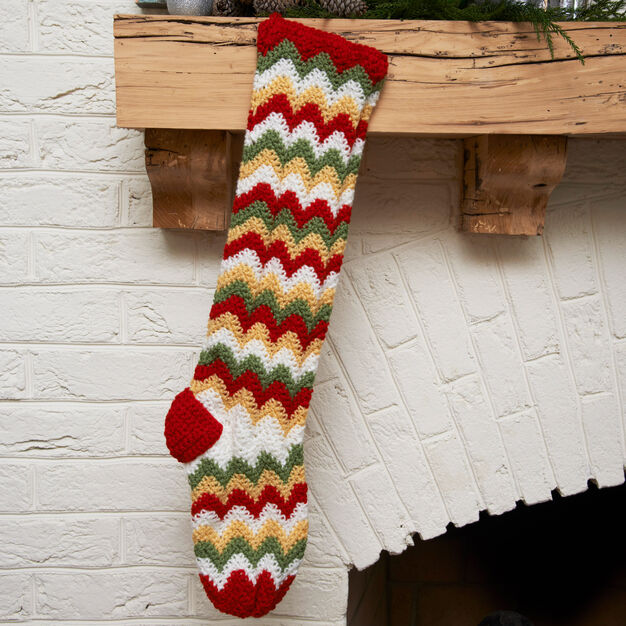 Red Heart Zig-Zag Stocking in color