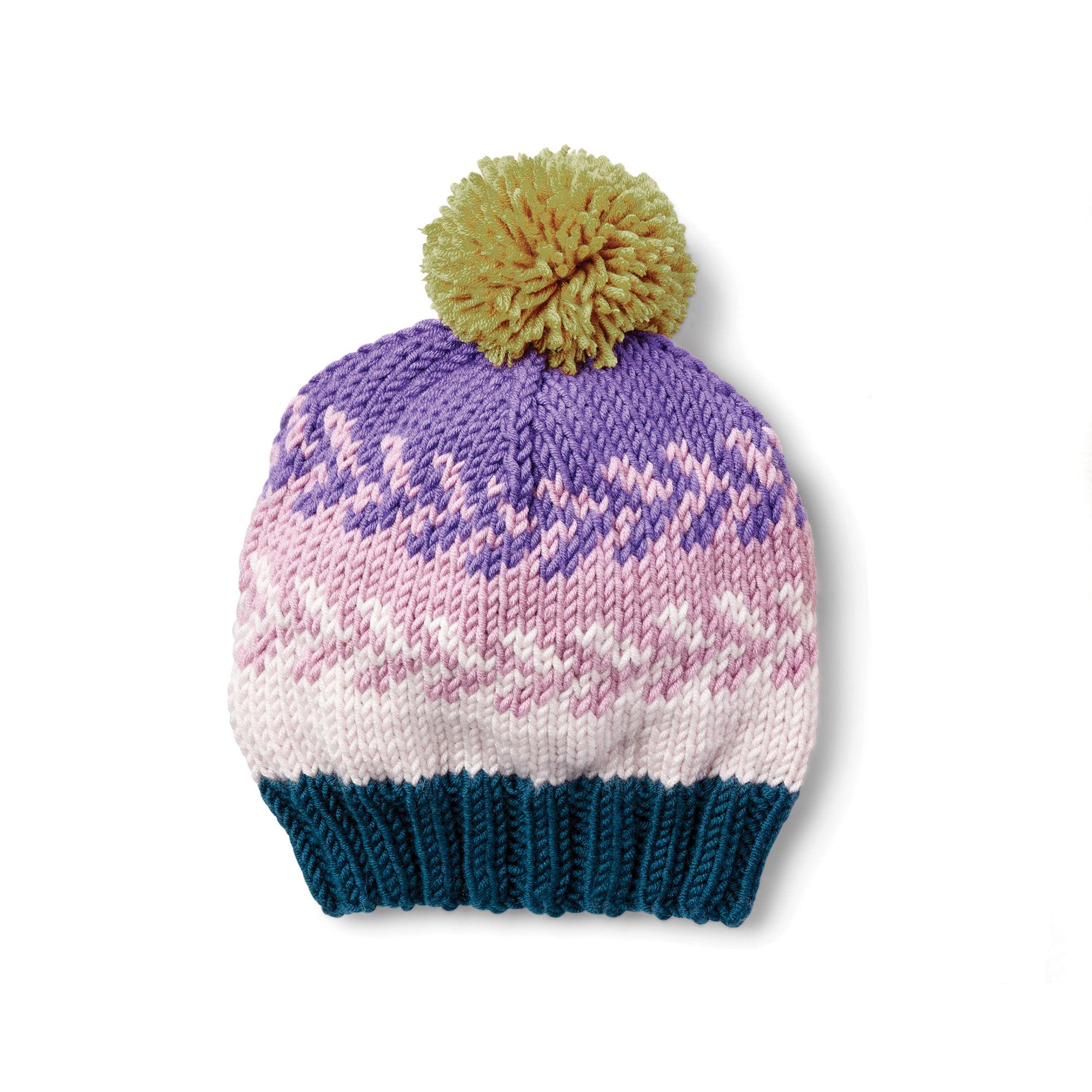 b8fc7a21de9 Caron x Pantone Knit Fair Isle Hat Free Pattern