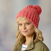 Red Heart Cute Crochet Hat, S/M