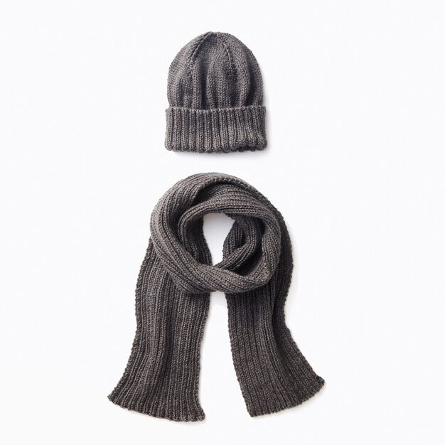 Caron Mens Basic Hat and Scarf Knit Set, Hat