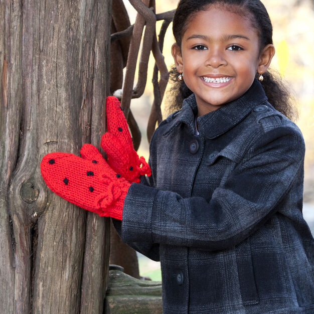 Red Heart Strawberry Mittens, 2 yrs in color