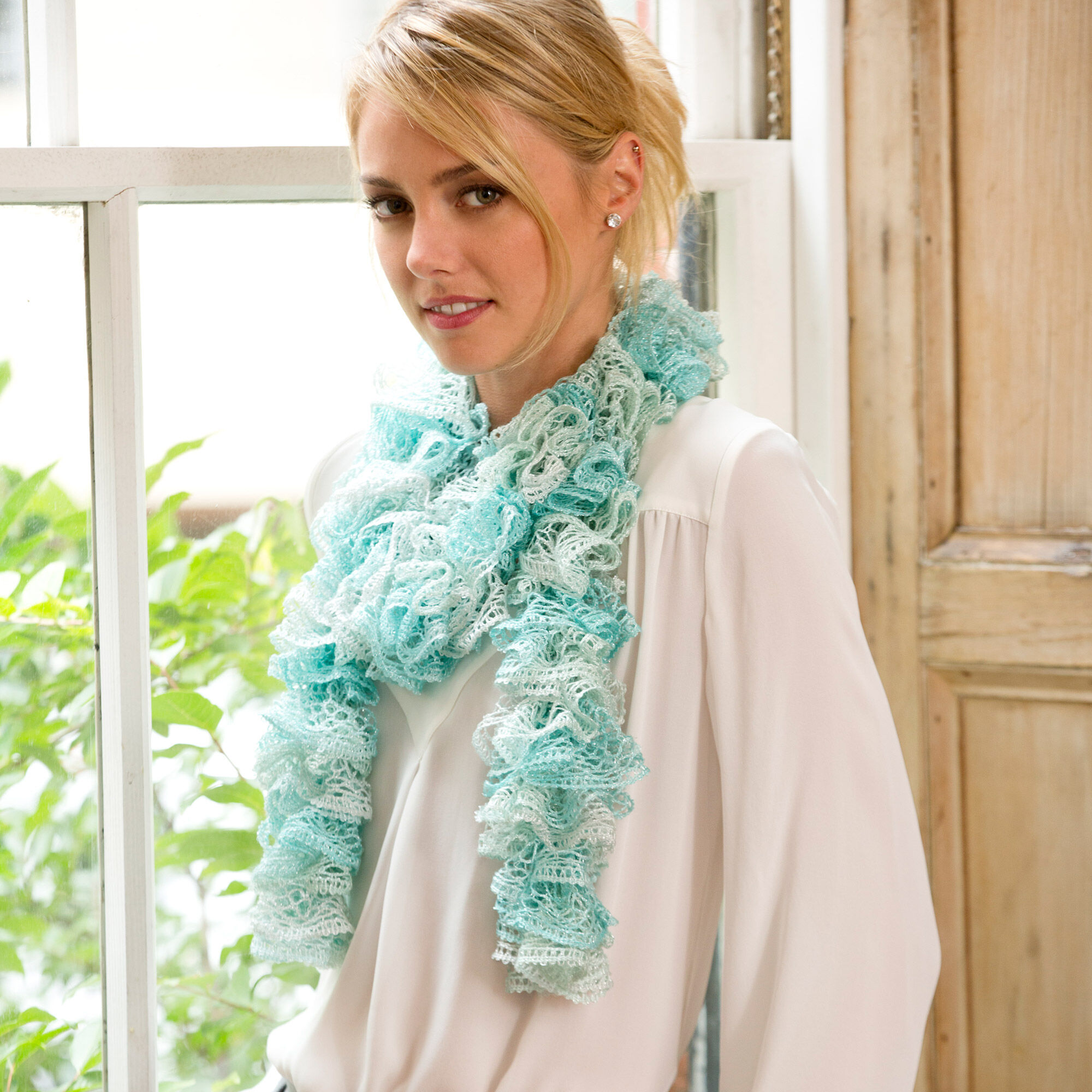 RED HEART ICY RUFFLE SCARF