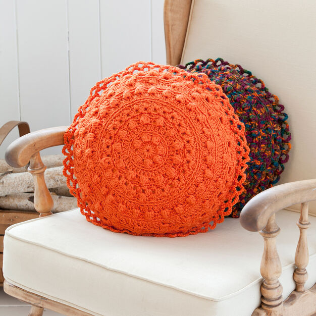 Red Heart Puff Stitch Round Pillows in color