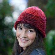 Red Heart Knit Roll Brim Hat