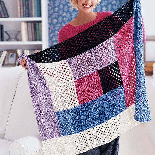 Red Heart Graphic Grannies Throw in color