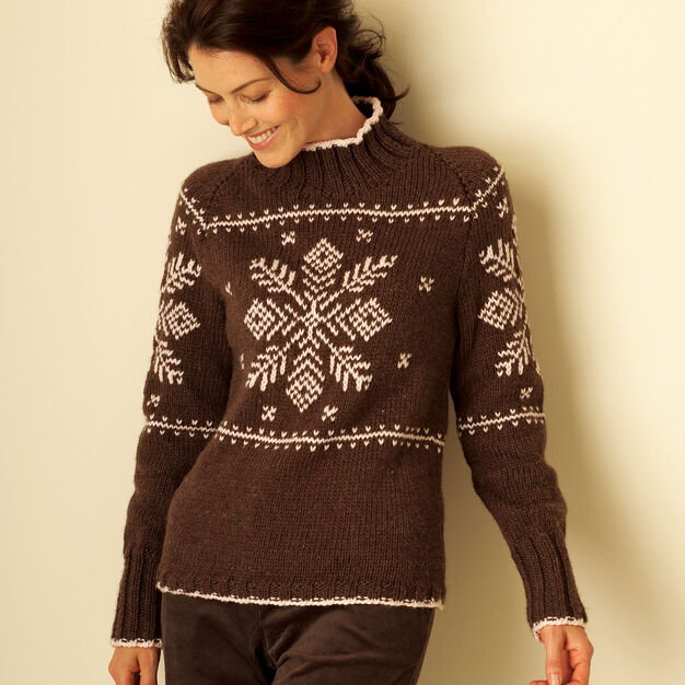 Bernat Fair Isle Yoke Pullover, XS/S in color