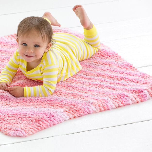 Red Heart Cuddle Bug Baby Blanket in color