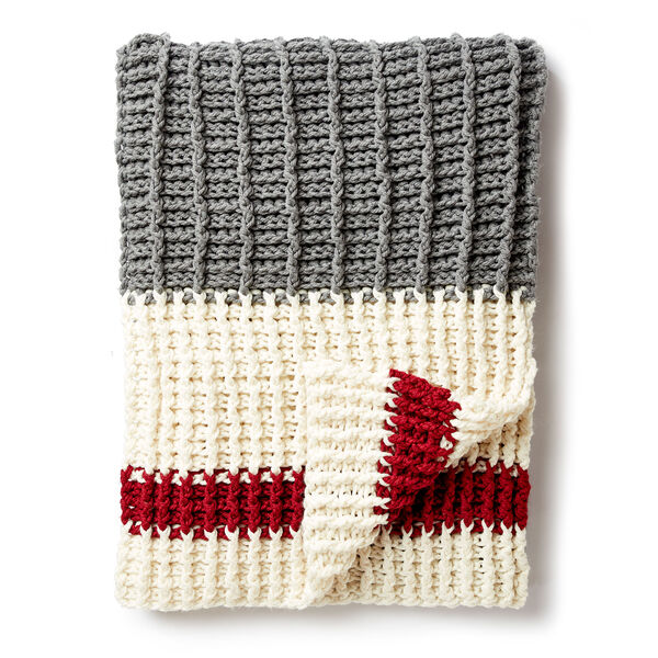 Free Pattern: Lumberjack Crochet Throw in Bernat Softee Chunky yarn