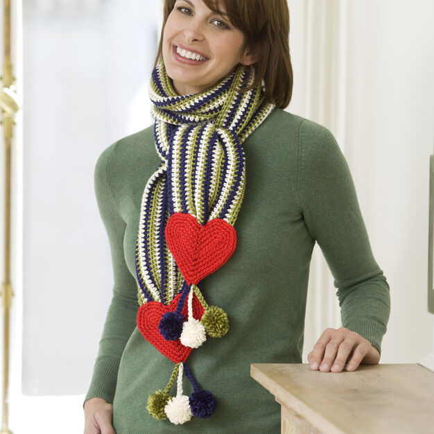 Red Heart Hearts & Stripes Scarf in color