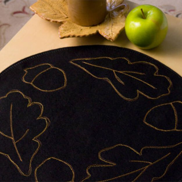 Dual Duty Autumn Leaves Candle Mat in color