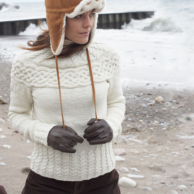 Patons Cabled Yoke Pullover, XS/S in color