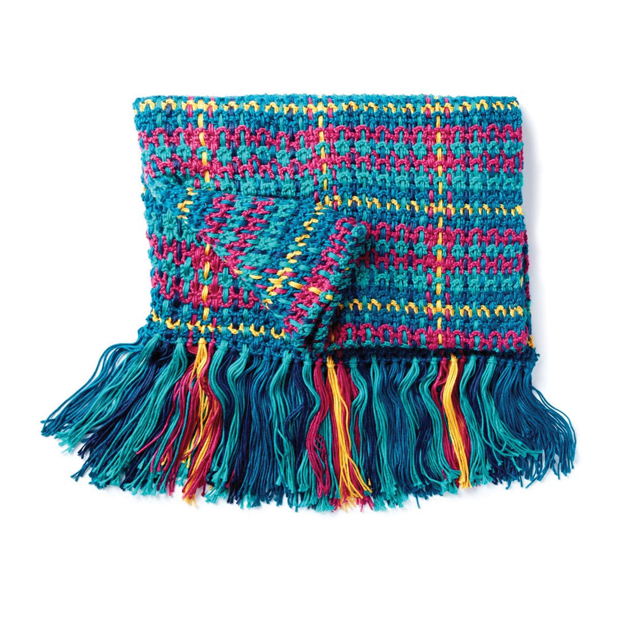 Caron Woven Plaid Crochet Blanket, Bright Pattern | Yarnspirations