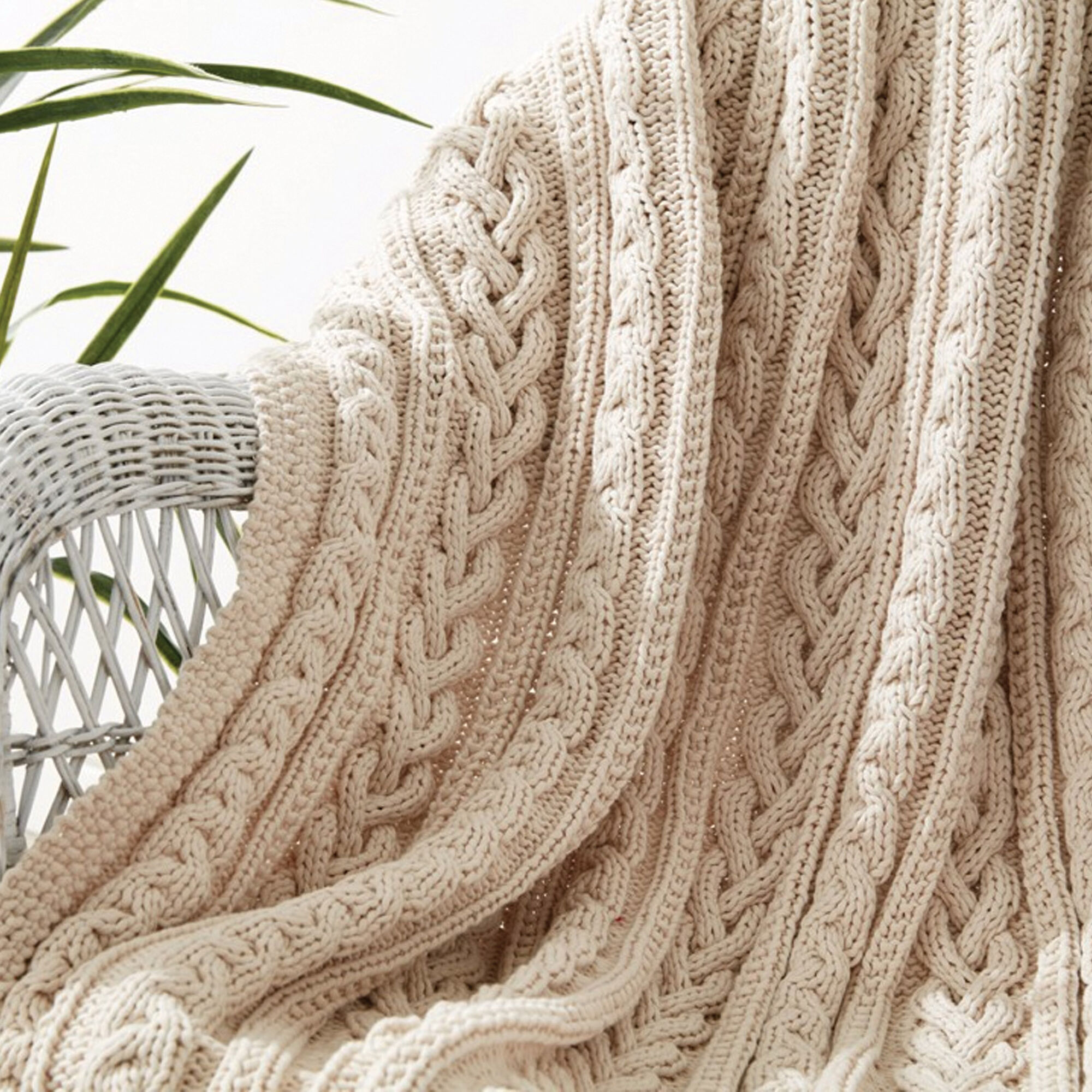 Bernat Braided Cables Knit Throw Yarnspirations