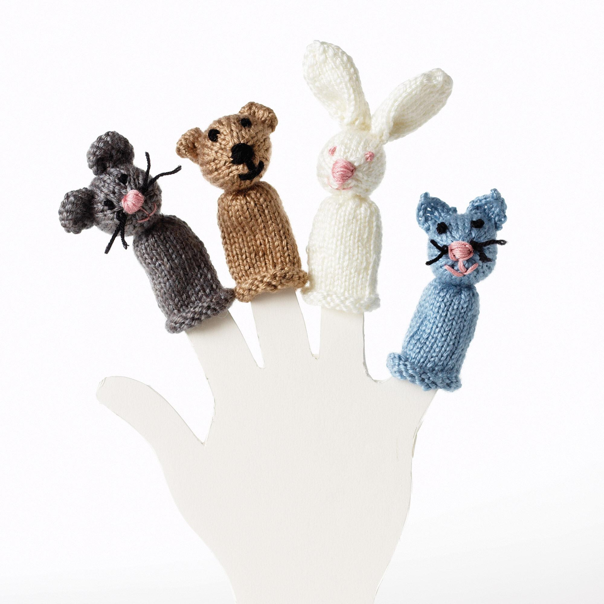 Bernat Bear, Bunny, Kitty and Mouse Finger Puppet, Bear | Yarnspirations