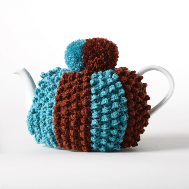 Bernat Crochet Popcorn Tea Cozy in color