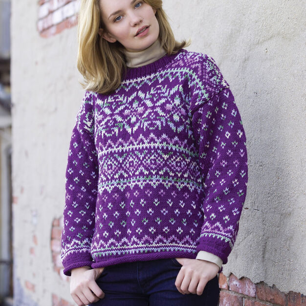 Red Heart Northern Lights Easy Fair Isle Pullover, XS in color
