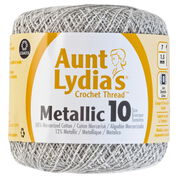 Go to Product: Aunt Lydia's Metallic Crochet Thread Size 10 in color White/Silver