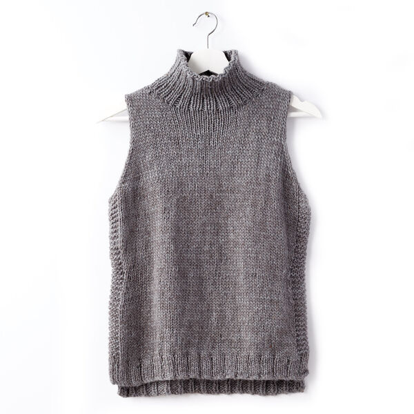 Free Pattern: Sleeveless Knit Turtleneck in Patons Alpaca Blend yarn