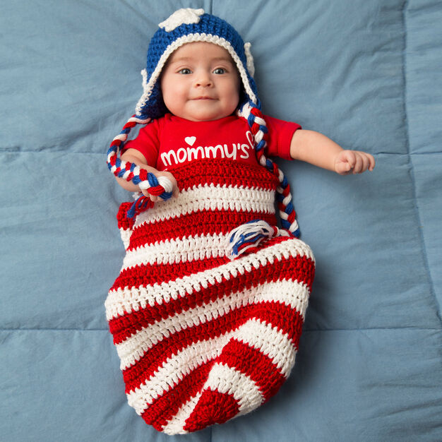 Red Heart Patriotic Baby Cocoon & Hat, Newborn