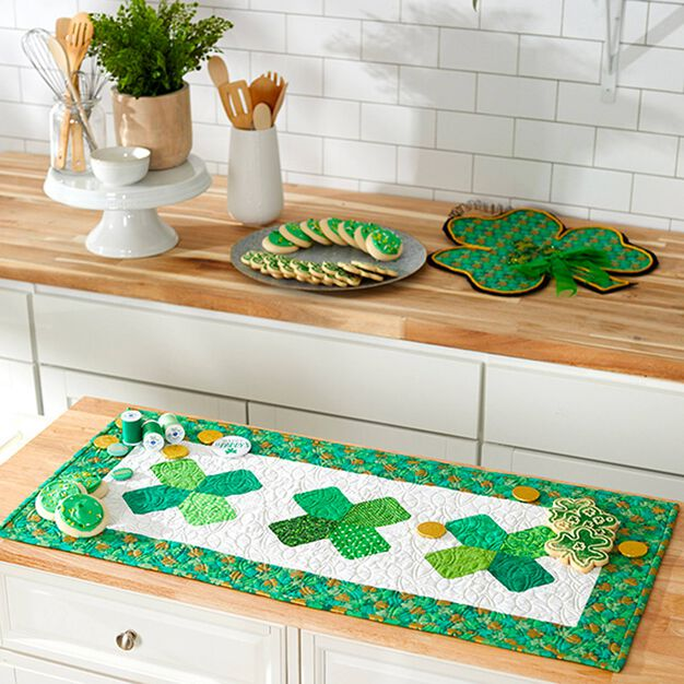 Dual Duty St Patricks Day Quilted Table Runner in color