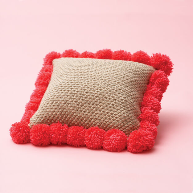 Bernat Pom-Pom-Edged Pillow in color