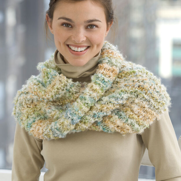 Red Heart Cowl Knit Mobius in color