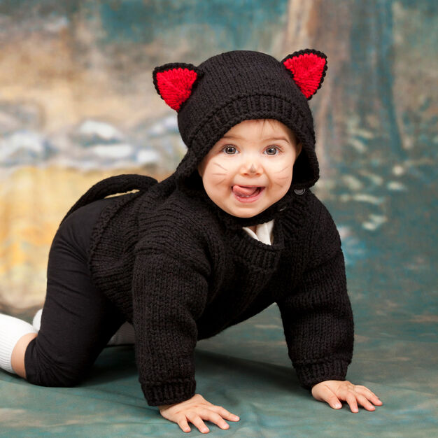 Red Heart Baby Black Cat Costume, 6 mos in color