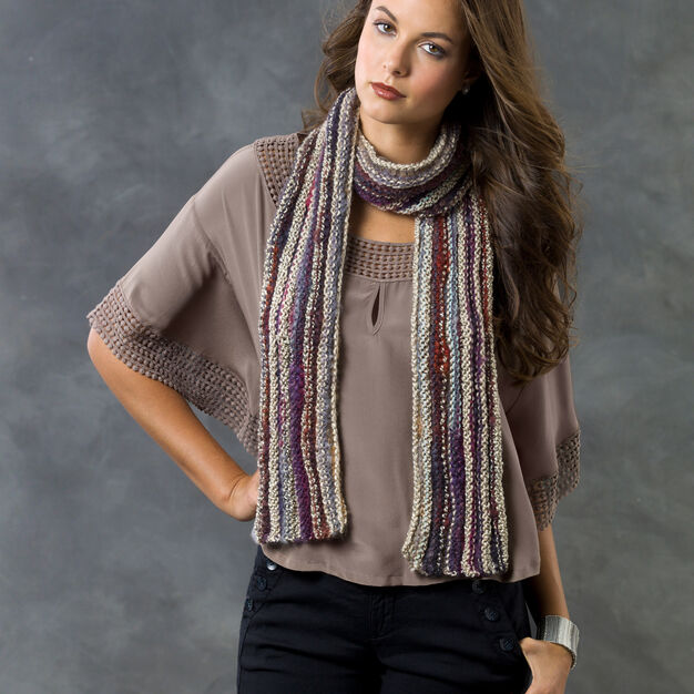 Red Heart Lengthwise Knit Scarf in color