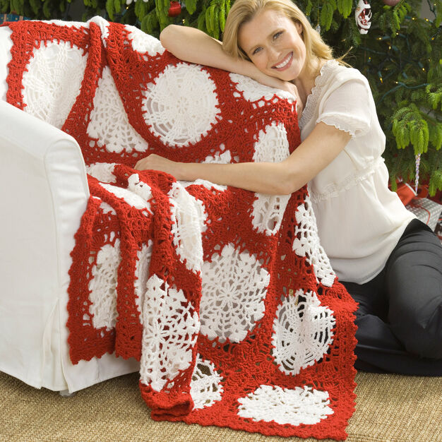 Red Heart Scandinavian Snowflake Throw in color