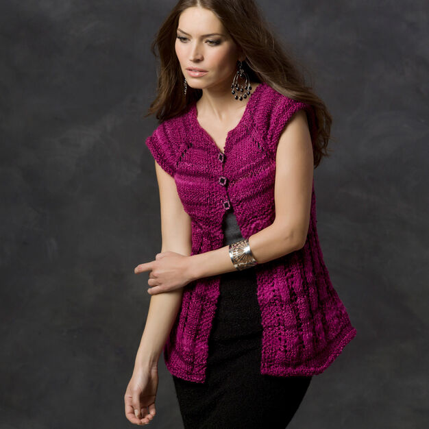 Red Heart Lace Edge Vest, S in color