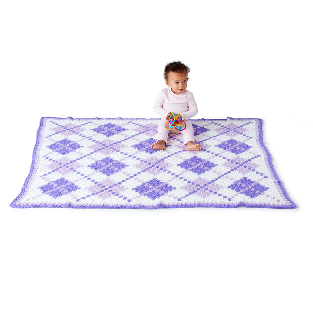 Caron Argyle C2C Crochet Baby Blanket in color