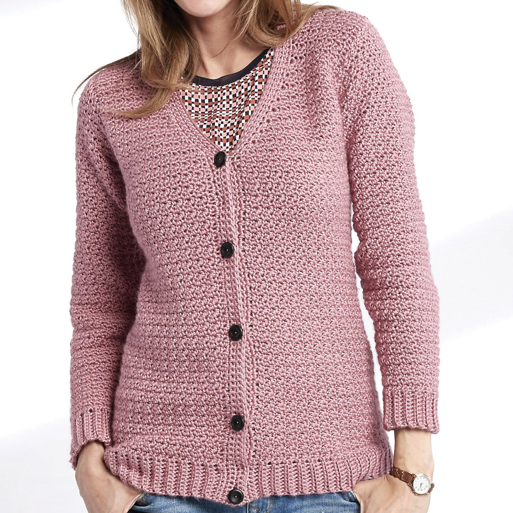6b405463c ... Caron Adult Crochet V-Neck Cardigan