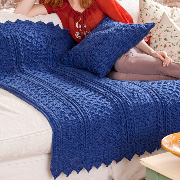 Red Heart Basketweave Diamond Throw & Pillow in color