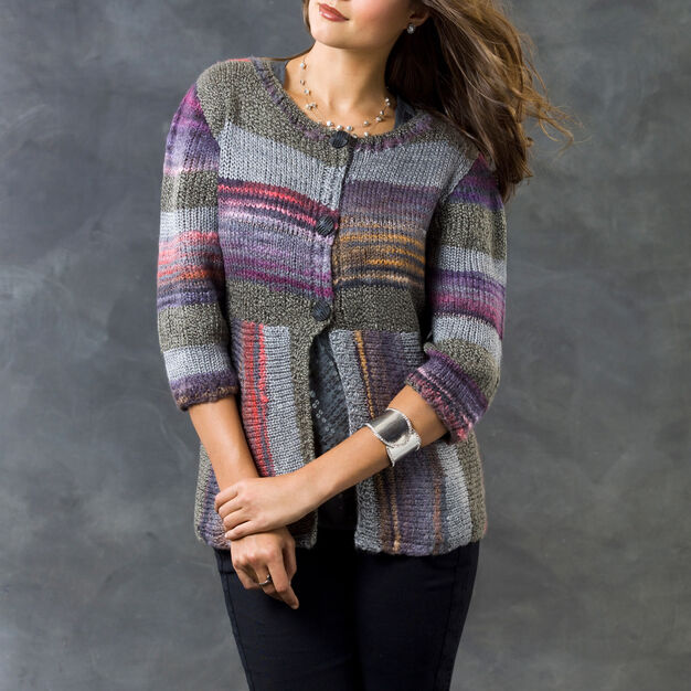 Red Heart Magical Stripes Cardi, S in color