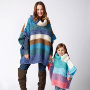 Bernat Mom and Me Crochet Ponchos, Snow Queen - Size 2