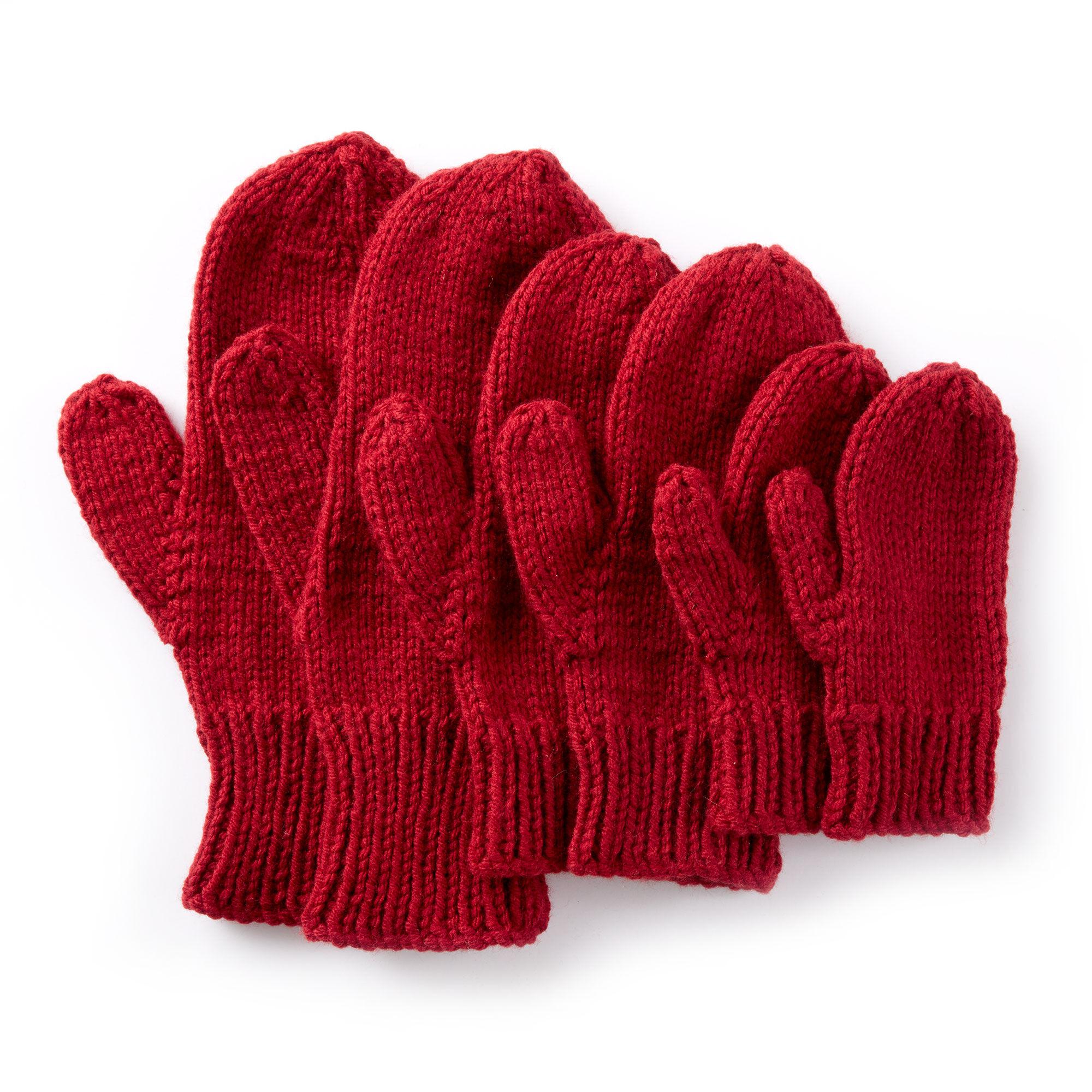 Caron Basic Family Knit Mittens | Yarnspirations