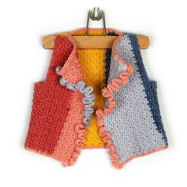 Bernat Colorblock Ruffle Front Vest, 2 yrs in color