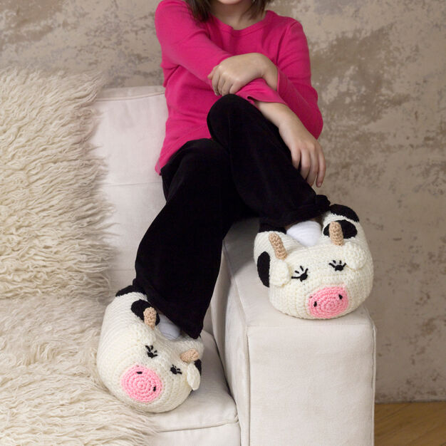Red Heart Cow Slippers in color