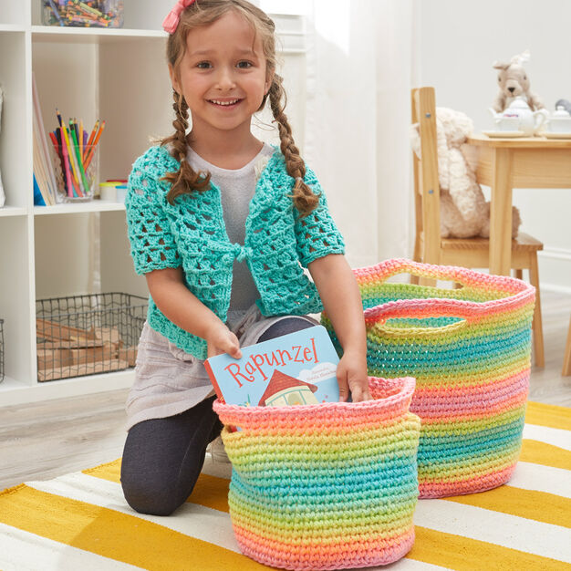 Red Heart Striping Fun Crochet Baskets, S