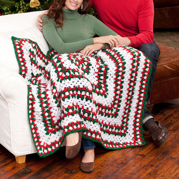 Red Heart Holiday Throw in color