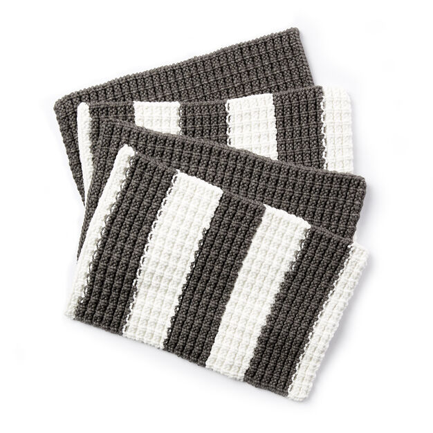 Bernat Knit Placemats Fresh Gray Stripe Pattern Yarnspirations
